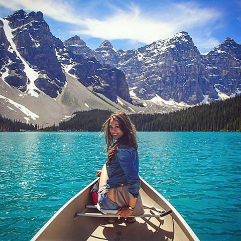 Canoeing Moraine Lake Banff National Park