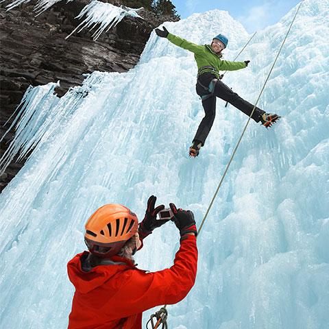Ice climbing at Johnston Canyon Banff National Park