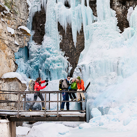 IJsklimmen in Johnston Canyon, Banff National Park