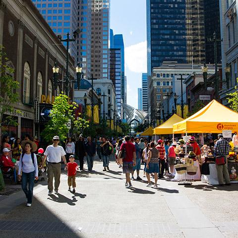 Shopping downtown Calgary Stephen Avenue