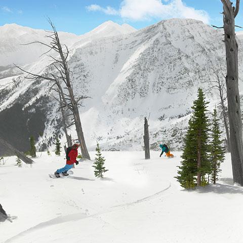 Snowboard en Castle Mountain cerca de Crowsnest Pass