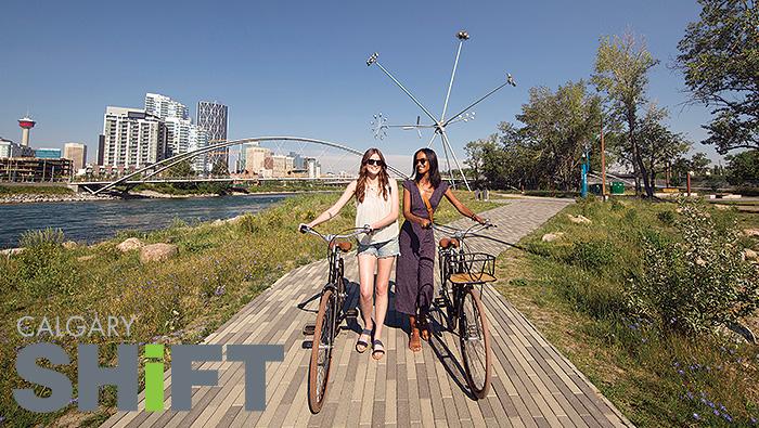 Ladies biking in Calgary