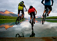 Mountain Biking at Maligne Lake, Jasper National Park, Alberta